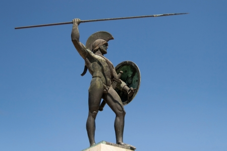 statue: Sculpture dedicated to king Leonidas of the Spartans in Thermopylae, Greece
