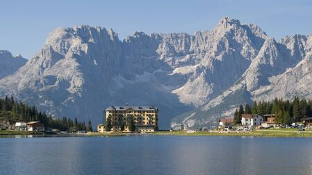 lake misurina: Lake Misurina with the mount Sorapis in the background in Dolomites, Italy  Stock Photo
