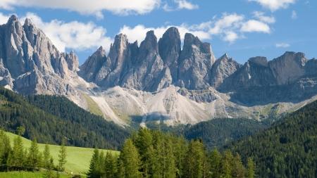 odle: Geisler peaks from Santa Maddalena di Funes in South Tirol, Italy