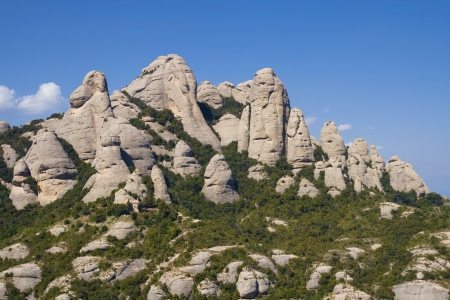 conglomeration: View of the rock formations of Montserrat Mountain in Catalonia