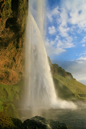 Seljalandsfoss waterfall at dusk, Iceland  Stock Photo - 20842056