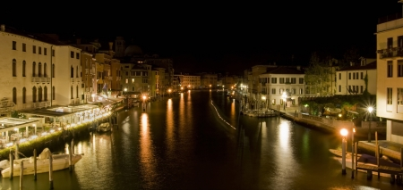 sestiere: Venice, Italy - August 22, 2011: Panorama of Grand Canal by night in sestiere Cannaregio, Venice, Italy. Editorial