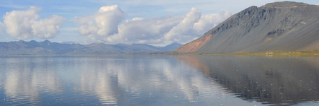 lon: Panoramic view on the lagoon of Lon in the south east coast of Iceland