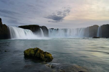 Godafoss Waterfall in long exposure, Iceland  photo