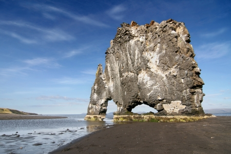 Hvitserkur, giant rock with the shape of a petrified animal, in the Hunafloi bay, North Iceland  photo