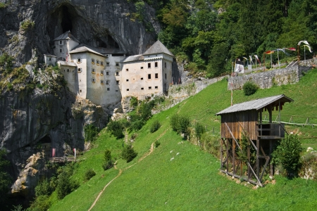 jousting: Castle of Predjama, Renaissance castle built within a cave mouth, with a jousting ground in the foreground, Slovenia