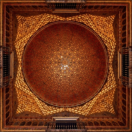 Golden Dome of the Ambassadors room in Alcazar, Seville, Spain