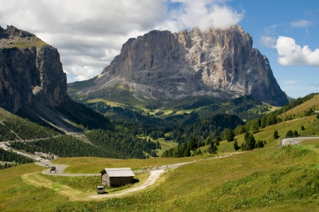 Gardena valley and Sassolungo  Langkofel  in the background, Dolomites, South Tyrol, Italy  photo