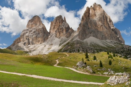 The Langkofel peaks Sassolungo from the Sella Pass in the Dolomites, Italy