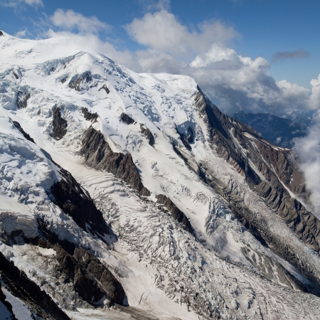 Glacier des Bossons and Glacier du Taconnaz in the Mont Blanc massif, French Alps  photo
