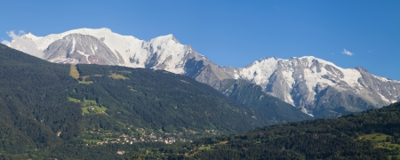 mounts: Mont Blanc and Domes de Miage from Passy, Haute-Savoie, France  Stock Photo