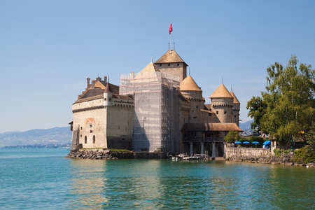 Chillon Castle on the shore of the Lake Leman in Switzerland