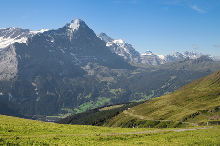 berner: Mounts Eiger and Jungfrau from First, Grindelwald, Bernese Alps, Switzerland