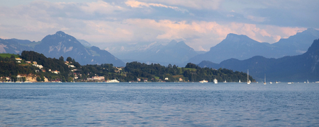 lucerne: Lake Lucerne from the city of Lucern at dusk, Switzerland