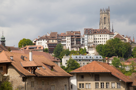 nikolaus: Upper City from the Old Town of Fribourg, Switzerland  Stock Photo