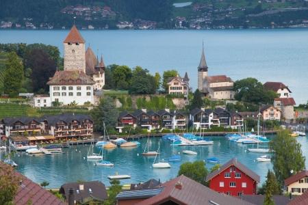 schweiz: Bay of Spiez in the Lake Thun, Switzerland