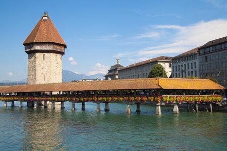 covered bridge': Kapellbrucke, the famous covered bridge of Lucerne, Switzerland  Editorial