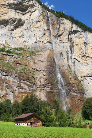 canton berne: Staubbach falls in Lauterbrunnen, Berne Canton, Switzerland  Stock Photo