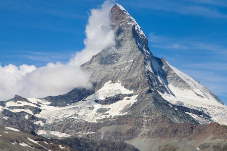 pyramid peak: Monte Cervino, or Matterhorn, swiss mountain