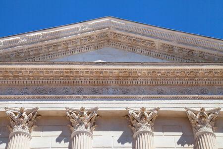 pediment: Pediment and Corinthian capitals of the Maison Carree, Nimes, France