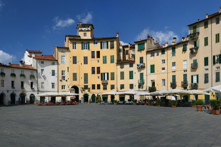 roman amphitheater: Piazza Anfiteatro in the old town of Lucca, Italy  Stock Photo