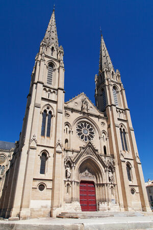 roussillon: Neo-Gothic church of Saint Baudille in Nimes, France