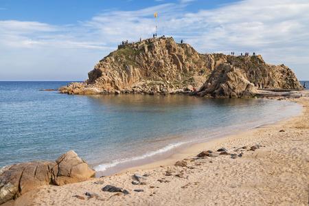 islet: Beach of Blanes and the islet Sa Palomera in the Costa Brava, Catalonia  Stock Photo