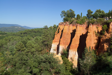 the luberon: Ochre cliffs in Roussillon, Luberon, Provence, France