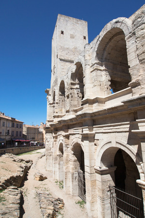 arles: Tower and Arcades of the Roman Amphitheatre of Arles, Provence, France  Editorial