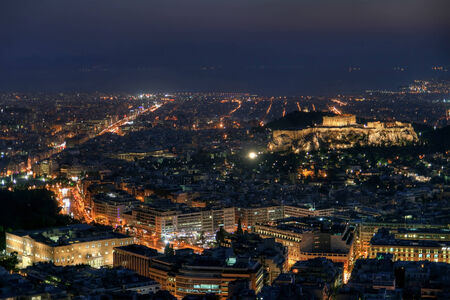 Athens by night from mount Lycabettus  photo