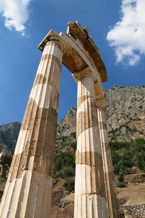 Doric pillars of the Tholos at Sanctuary of Athena Pronaia in Delphi, Greece  photo