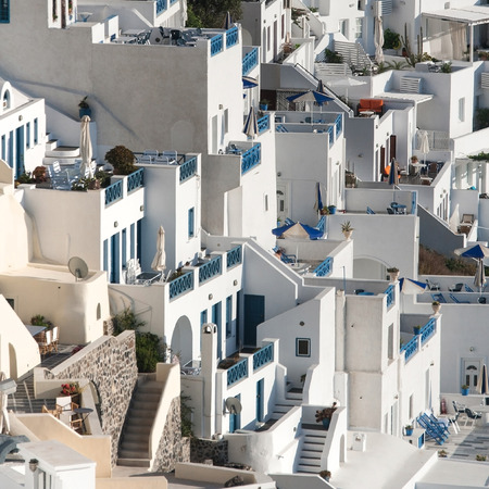 fira: Terraces of the white village of Fira, Santorini, Greece  Stock Photo