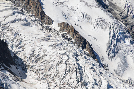 serac: Seracs of the Bossons Icefall in the Mont Blanc massif, France