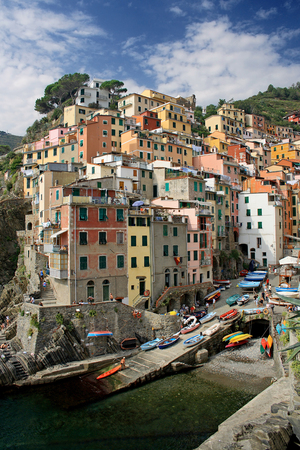 Fishing village of Riomaggiore, Liguria, Italy  photo