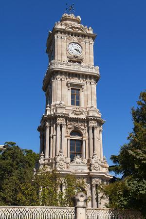 Dolmabahce Clock Tower in Besiktas, Istanbul, Turkey. photo
