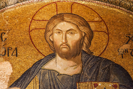 Christ Pantocrator mosaic in the Tympanon between Exonarthex and Narthex of the Chora Church, Istanbul, Turkey.