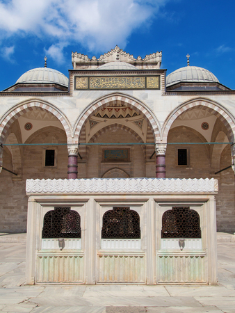 Ablution fountain in the courtyard of the Suleymaniye Mosque, Istanbul, Turkey. photo