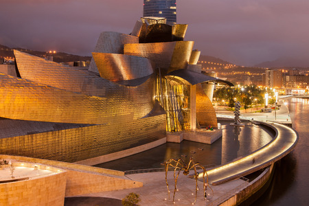Guggenheim Museum at night in Bilbao, Basque Country, Spain.