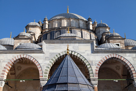mehmed: Istanbul, Turkey - August 24, 2014: Fatih Mosque in Istanbul, Turkey. It is named after Fatih Sultan Mehmed, the Ottoman sultan who conquered Constantinople in 1453.