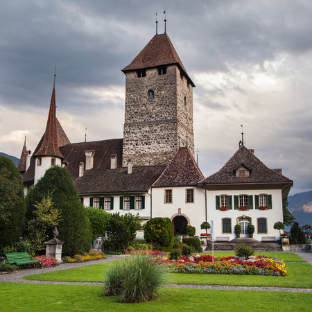 berner: Spiez, Switzerland - August 19, 2013: Castle of Spiez, Bernese Oberland, Switzerland.