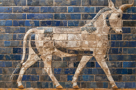 Mosaic of a Bull on the Ishtar Gate, Istanbul, Turkey.