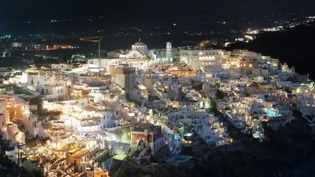 fira: Village of Fira in Santorini Island by night.