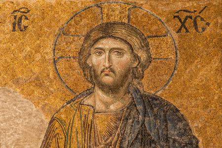 hagia sophia: Jesus Christ in the Deesis mosaic of Hagia Sophia, Istanbul, Turkey.