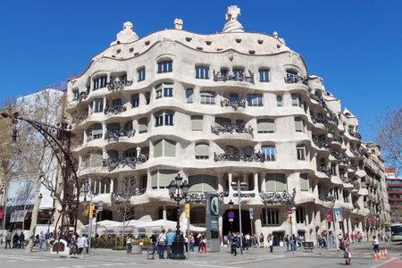 modernisme: Casa Mila by Antoni Gaudi, Barcelona, Spain.