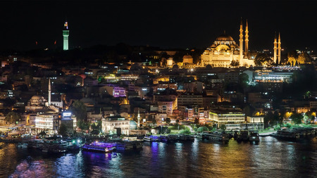suleyman: Fatih district by night from Galata Tower, Istanbul, Turkey. Stock Photo