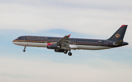 Barcelona, Spain - March 29, 2015: A Royal Jordanian Airbus A321 approaching to the El Prat Airport in Barcelona, Spain.