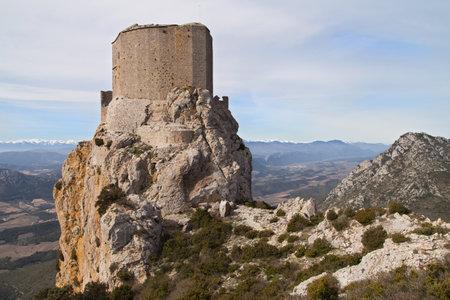 castle: Chateau de Queribus Aude LanguedocRoussillon France.