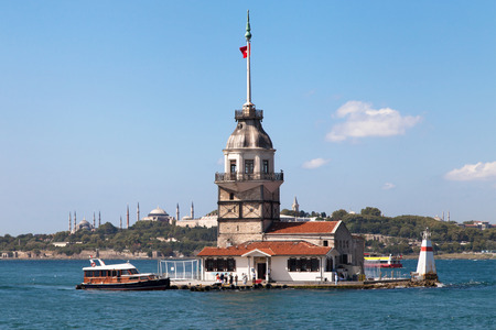 blue mosque: Maiden Tower with the Blue Mosque and Hagia Sophia in the background Istanbul Turkey. Stock Photo