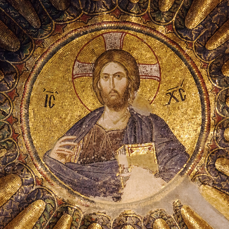constantinople ancient: Mosaic of Christ Pantocrator in the south dome of the inner narthex of Chora church, Istanbul, Turkey.