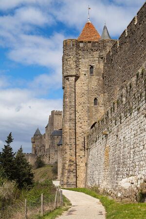 cite: Tower of the Bishop, Cite of Carcassonne, Languedoc-Roussillon, France.